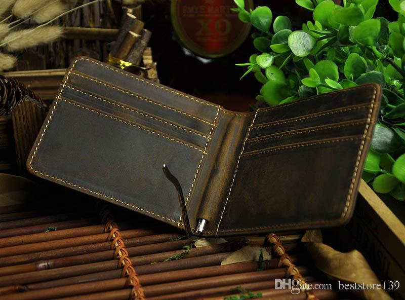 Mens Vintage Genuine Leather Male Brown Wallet Crazy Horse Leather Metal Clip Purse For US Dollars Credit Cards Horizon Short Shape Bifold