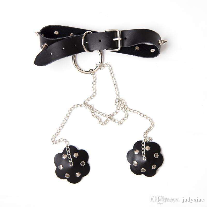 Adult Toys Genuine Leather Dog Collar With Nipples Cover Bondage Belt Slave In Adult Games,Fetish Porno Sex Products Toys For Women