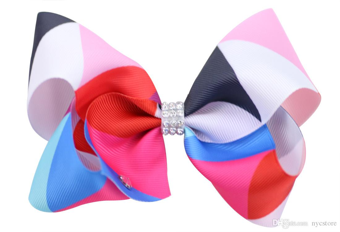 8 inch giant 18cm big rainbow bowknot hair clip pins hairclips with crystals bow hair accessories for kids children