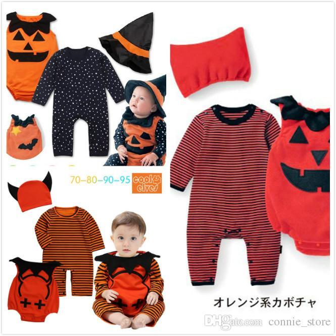 edc9f65fa5e0 2019 NEW Halloween Baby Clothes Devil Vampire Pumpkin Hat Rompers ...