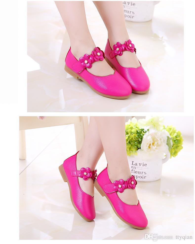 Wholsale White Pink Kids Baby Flower Children Girls Princess Leather Party Wedding Dress Shoes For Girls Dance School Spring Shoes New 2018