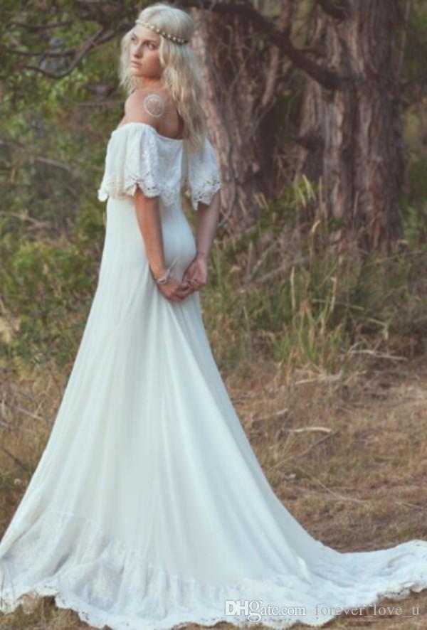 Primavera Bohemian Beach Vestidos de novia fuera del hombro Ivory Chiffon Garden Boho Vestidos de novia con apliques de encaje y tren largo