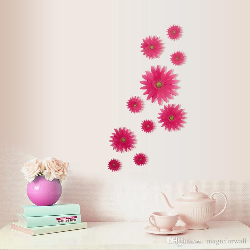 3D Stereo Daisy Flowers Wall Decor Living Room Bedroom Art Mural Poster Furniture Glass Home DIY Decoration Chrysanthemum