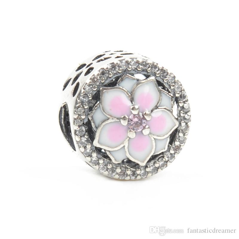 b7a0192a2 ... Pink Flower Bead Enamel Joyeria 100% 925 Sterling Silver Beads Charm  Fits Original Pandora Charm ...
