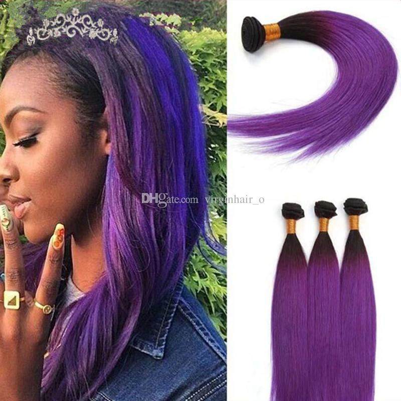 Cheap Malaysian Hair Silky Straight Purple Ombre Hair Extensions