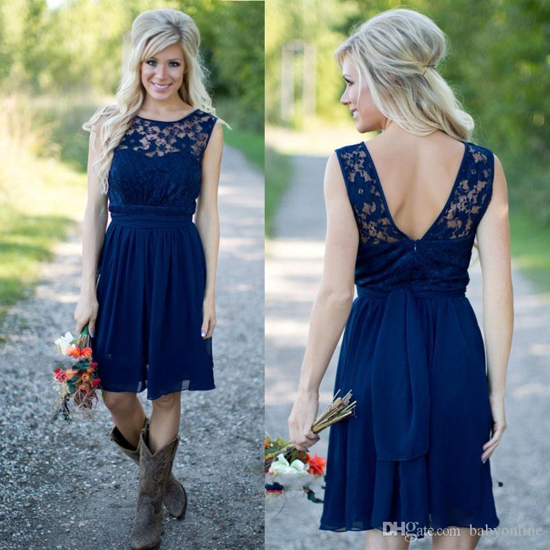 2020 Country Style Royal Blue Short Bridesmaid Dresses Cheap Jewel Neck Lace Bodice Backless Ruched Maid of the Honor Dresses with Belt