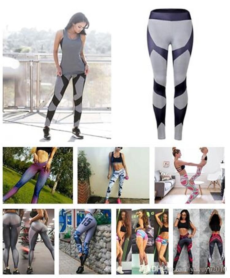 fe2c0bba43684 2019 2018 Women In Europe And The New Geometric Digital Printing Slim  Sporting Leggings Black White Mosaic Fashion Leggings DHL 170916 From  Yuyuyu2010, ...