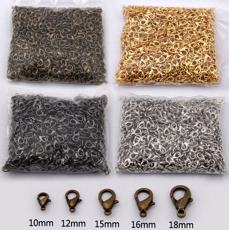 / 10mm 12mm 14mm 16mm 18mm Argent Or Bronze Plaqué Alliage Fermoirs À Homard Fermoirs Fermetures de Bijoux Composants 2016 Jun Vente Chaude