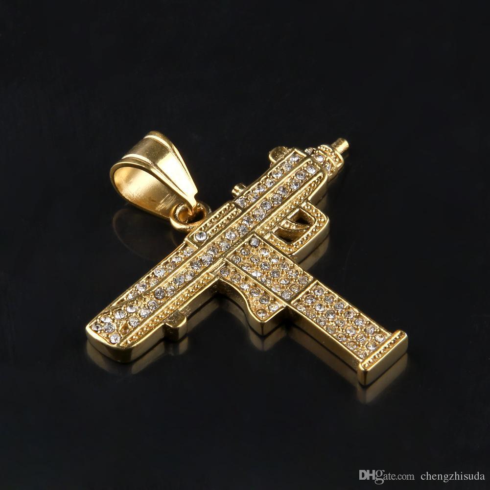 الهيب هوب بندقية قلادة قلادة 18K الذهب والفضة مطلي مثلج خارج تشيكوسلوفاكيا الماس سحر قلادة سلسلة الجودة الكوبية الجميلة