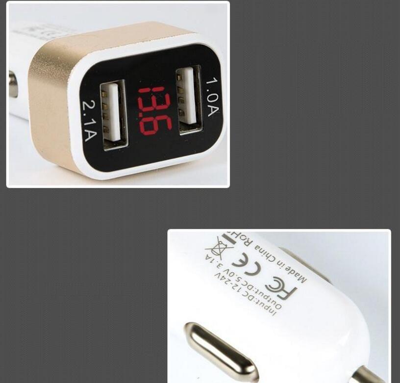 intelligent Car Charger 5V 2.1A Quick Charge Dual USB Port LED Display Cigarette Lighter Adapter Car Voltage Diagnostic for iphone6 7