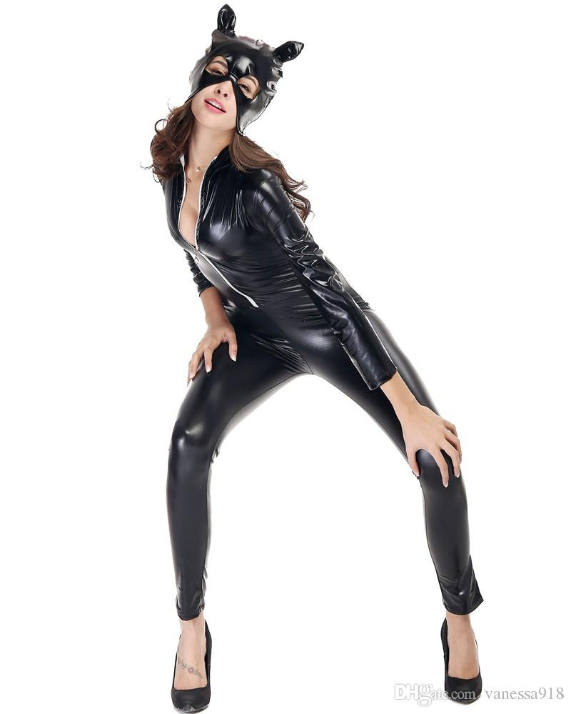 Women Halloween Fancy Jumpsuit Sexy Black Cat Anime Catwoman Costume Adult Girls Gothic Cosplay Clothing cat hat with free gift bag PS007