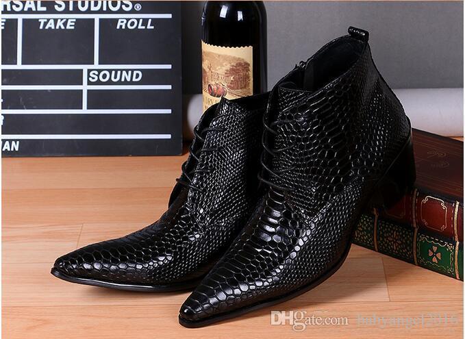 Nuove Scarpe uomo invernali Moda Italiana reale scarpe di cuoio Stivaletti Botines Mujer nero da sposa più il formato 38-46