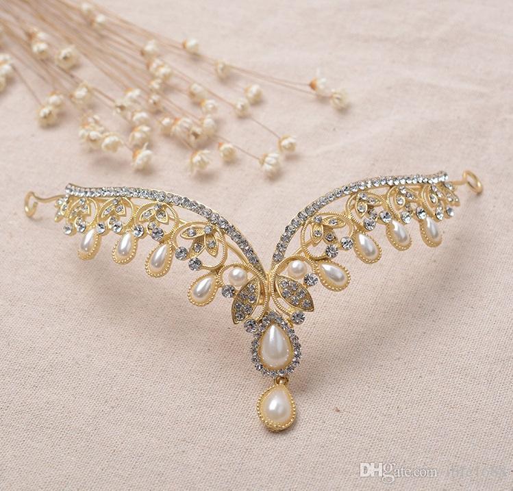 2016 Simple Gold Rhinestone Crystals Beaded Tiara Sample Bridal ...