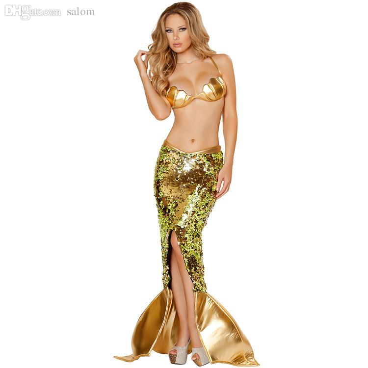Wholesale Golden Goddess Mermaid Costume Sexy Sea Siren Sequin Mermaid Costumes Sexy Halloween Female Mermaid Cosplay Uniform Fancy Dress Lord Of The Ring ...  sc 1 st  DHgate.com & Wholesale Golden Goddess Mermaid Costume Sexy Sea Siren Sequin ...
