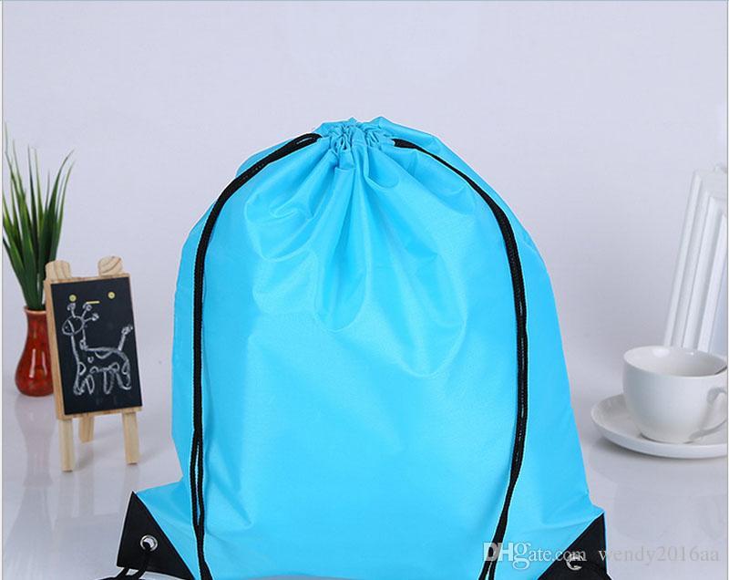 Novo Cordão 210 poliéster sacos de Tecido à prova d 'água Mochila sacos de dobramento de Marketing Promoção cordão sacos de ombro bolsa de compras