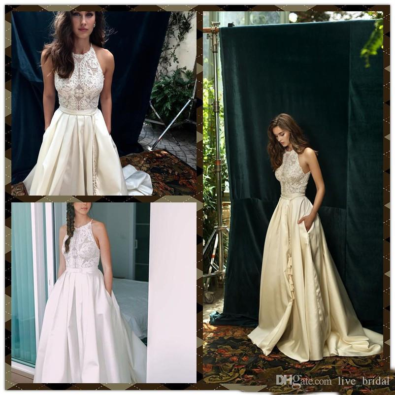 Discount Lace Applique Wedding Dresses Sleeveless Halter Bridal