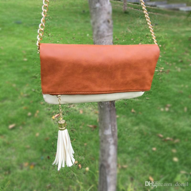 Venta al por mayor Blanks Mix Color Clutch bag Foldover Evening Bag con Metal Shoulder Chain Three Colors Availabe DOM106190