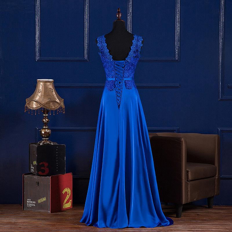 특종 목 레이스 새틴 이브닝 드레스 긴 로얄 블루 부르고뉴 2020 바닥 길이 신부 들러리 드레스 Abendkleider