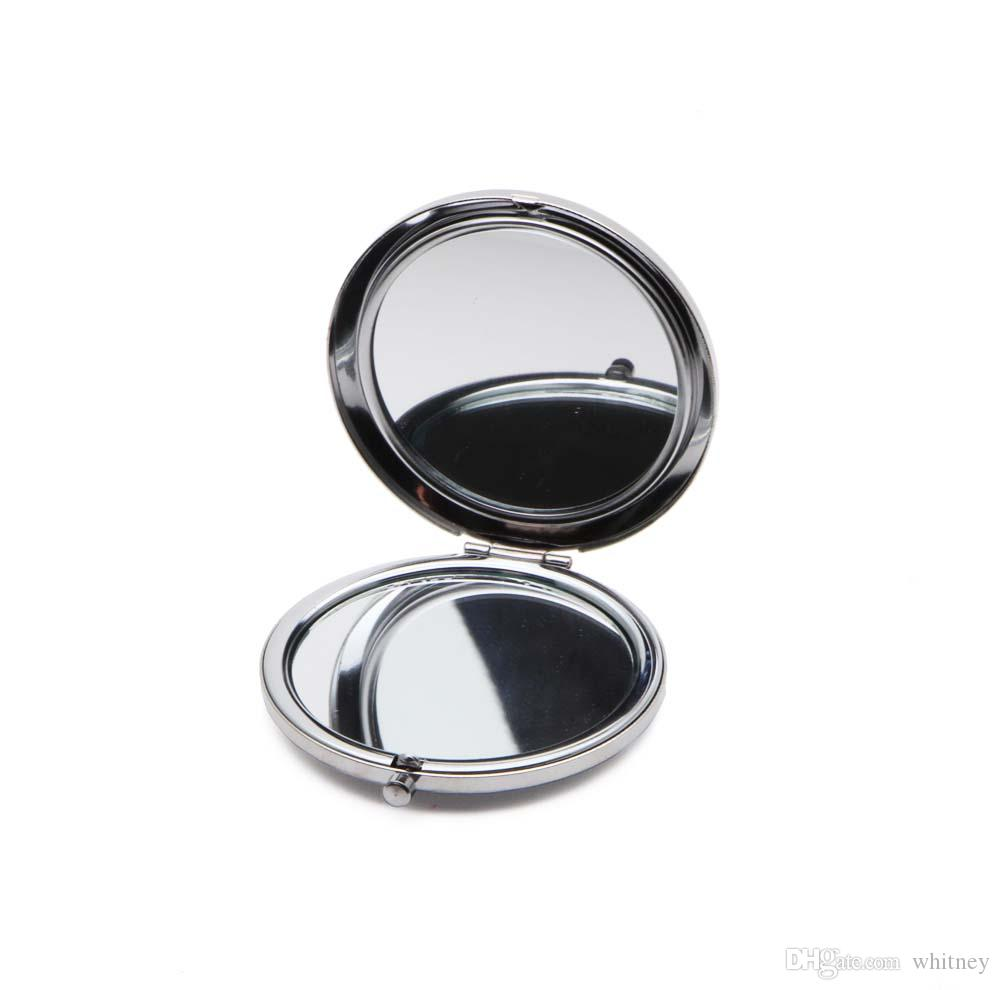 Blank kompakt spegel metall kosmetisk makeup spegel förstoring diy bärbar spegel silver färg # 18410-1