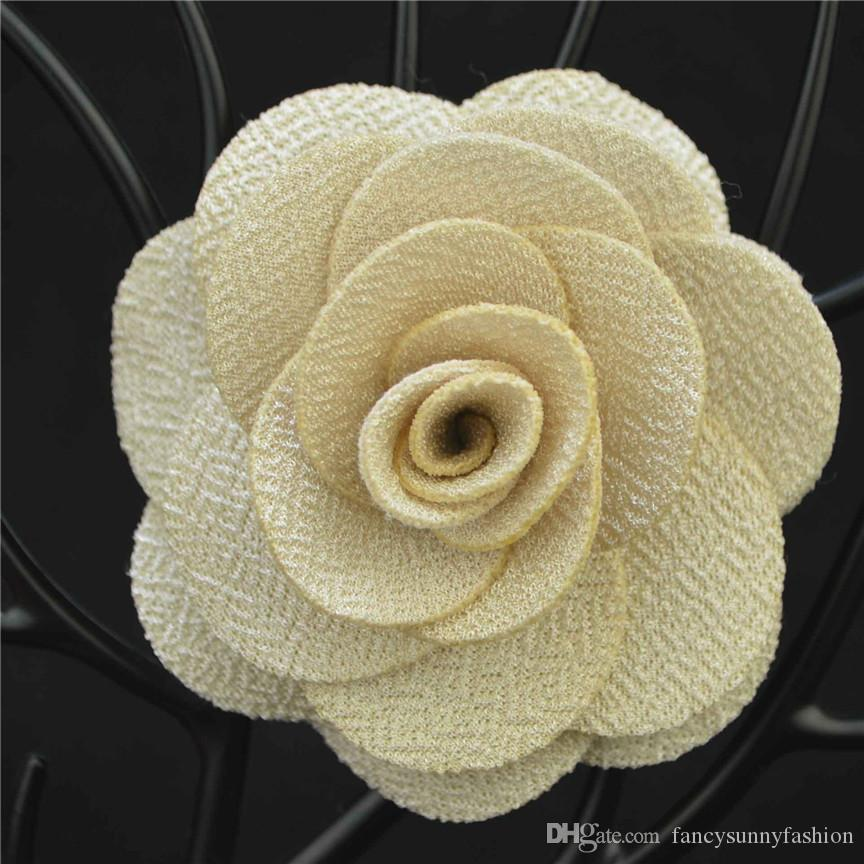 L size Cheap Fashion Solid color Flower Brooch lapel Pins handmade Boutonniere Stick fabric Camellia for Gentleman suit wear lady Accessory