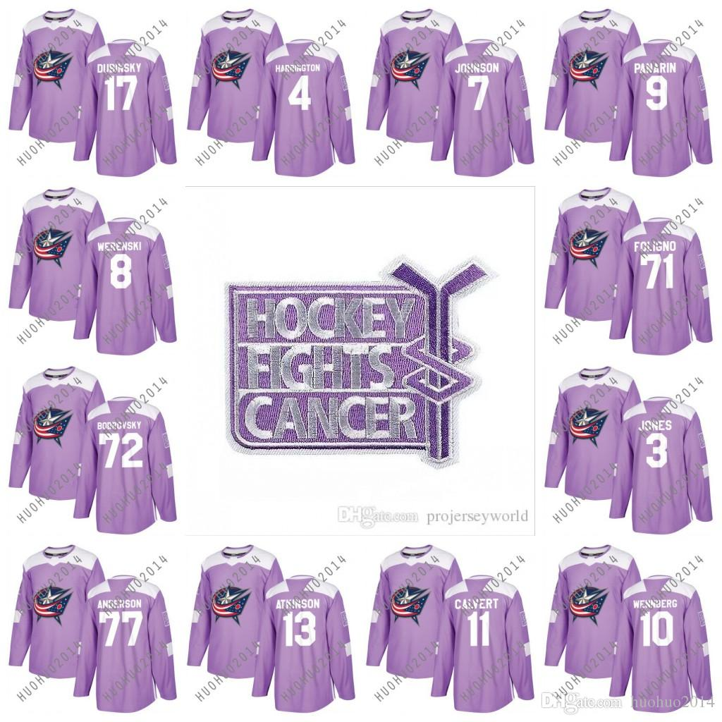 best service eaa95 10961 Fights Cancer Practice Columbus Blue Jackets Zachary Werenski Sergei  Bobrovsky Nick Foligno Brandon Dubinsky Jones Johnson Purple Jerseys
