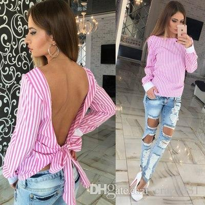 ccdd966b234 2019 Wholesale Cute Women Blouse 2016 Fashion White Striped Open Back Sexy  Tops Long Sleeve Shirt Women Summer Clothes Plus Size From Crazy931