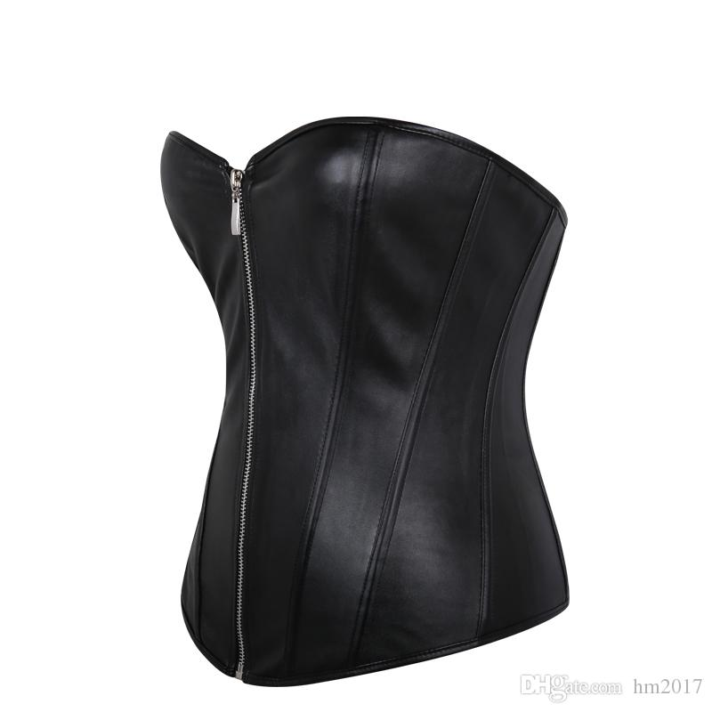 Frauen Leder Korsett Reißverschluss Steampunk Mieder Taille Trainer Leder Shapewear Sexy Bustier Vollbrust Korsett Tops S-6XL