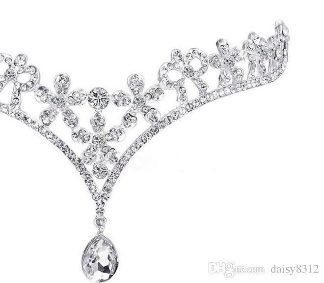 Silver Crystals Rhinestones Flower Head Chain Jewelry Forehead Headpiece Bride