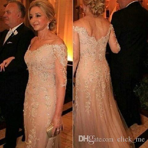 Mother Of The Bride Dresses Tulle Lace Sequined 3/4 Long Sleeves Evening Dress Deep V neck Appliques Groom Mother Formal Prom Gowns