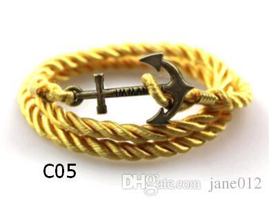 Heißer Verkauf Multilayer Geflochtene Leder Charme Armband Mode Vintage Anker Braid Seil Wraps Armbänder Erklärung Schmuck Großhandel