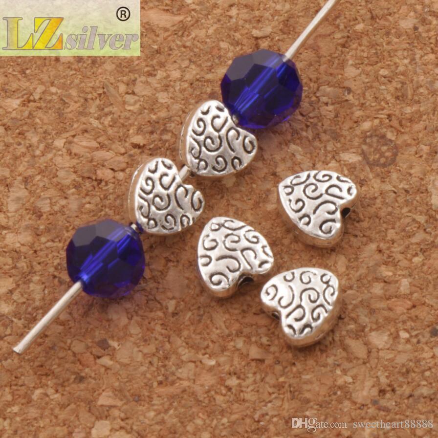 Fantaisie Artisanal Coeur Entretoises Perles / 5.9X6.1mm Bijoux En Argent Tibétain Perles Lâches DIY L1767
