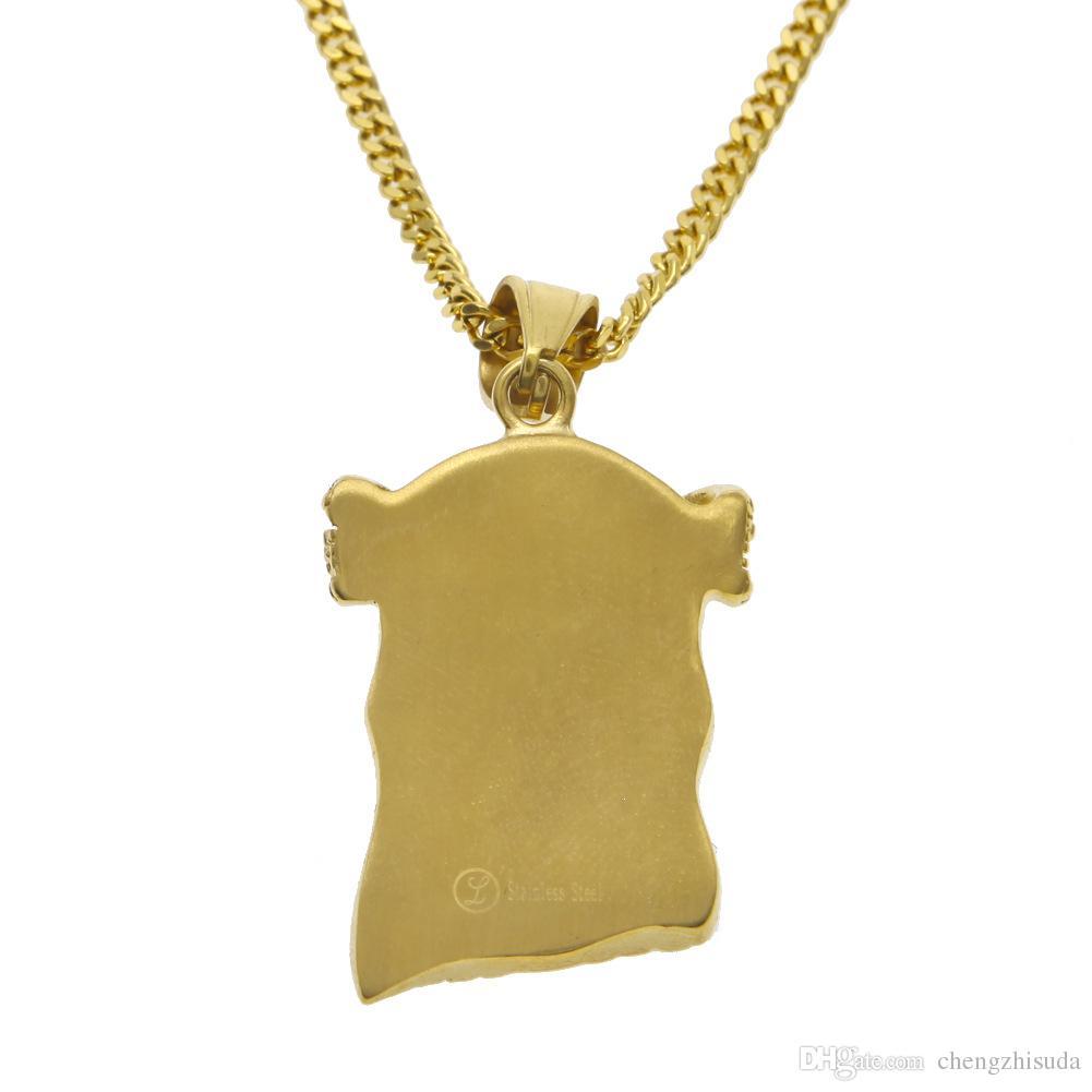 Collana in acciaio inossidabile Hip Hop Jesus Piece Face Micro Micro pendente ciondolo placcato in oro 24