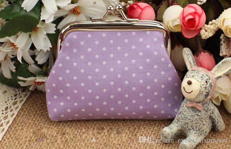 Moda mista Hot Vintage colorido dot coin bolsa titular chave da lona bolsa hasp pequenos presentes saco de embreagem bolsa EWT022