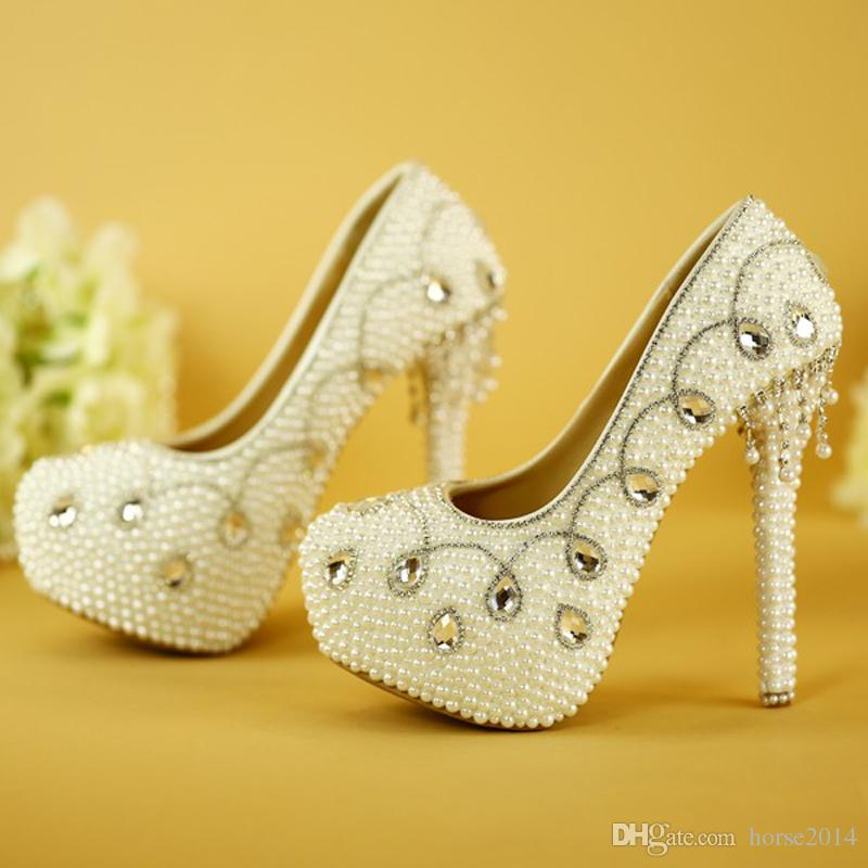Fashion Women Spring Dress Shoes High Quality Handamde White Pearl Wedding Pumps Mother of the Bride Shoes Bridal High Heels