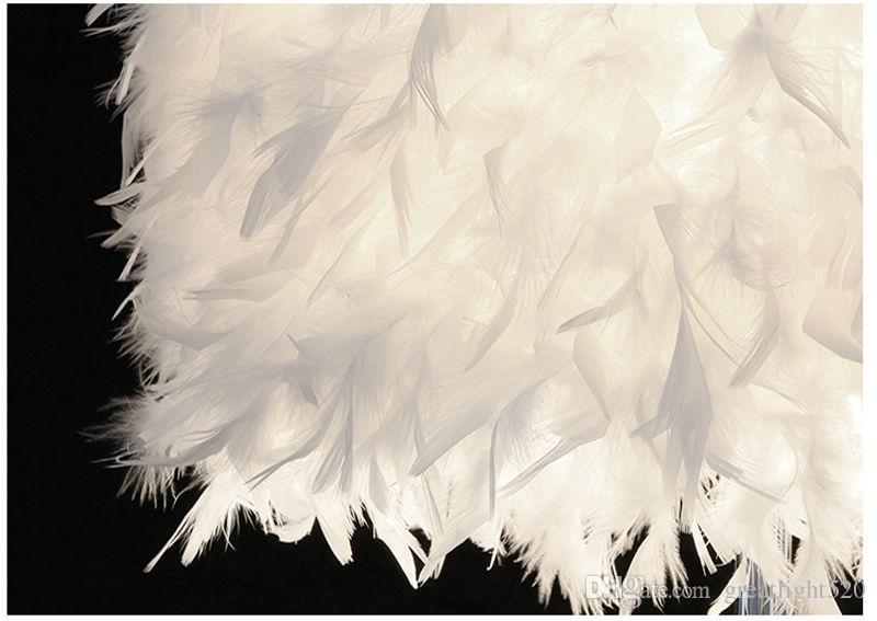 페더 라이트 골동품 노블 테이블 램프 낭만주의 LED 침대 옆 고전 흰색 깃털 데스크 나이트 라이트 # 03
