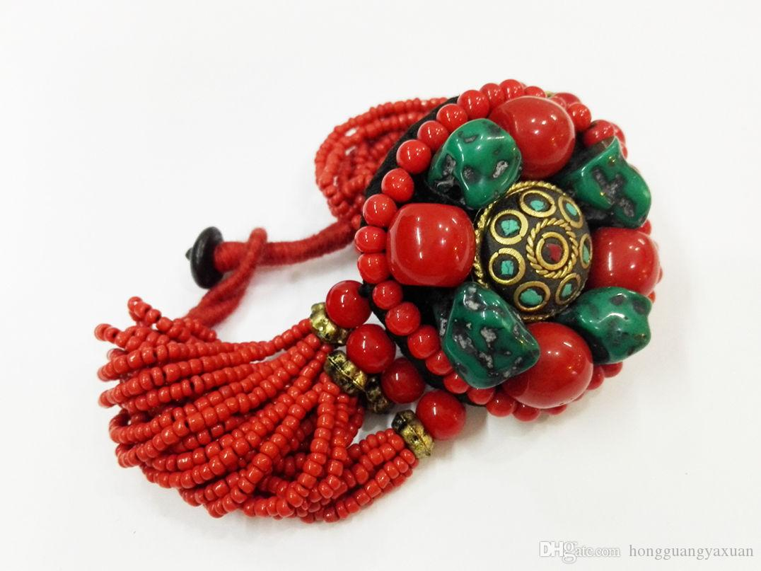 우수한 티벳 붉은 산호 구슬 청록색 팔찌 팔찌 다층 산호 구슬