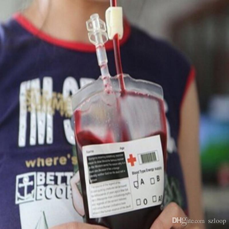 Прозрачный пищевой ПВХ материал многоразовые энергии крови напиток сумка Хэллоуин сумка реквизит вампир 0708018