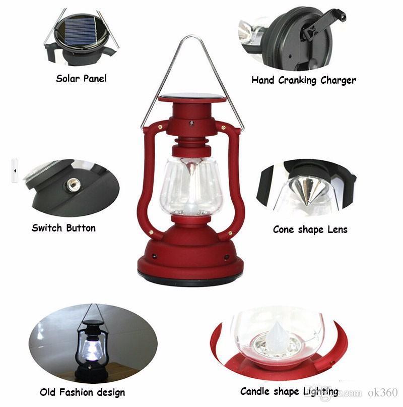 Novo Portátil Painel Solar Lanterna Mão Levou Luz de Campismo 16LED Luz Brilhante lâmpada de férias ao ar livre Luzes Penduradas Caminhadas Lâmpada de Pesca