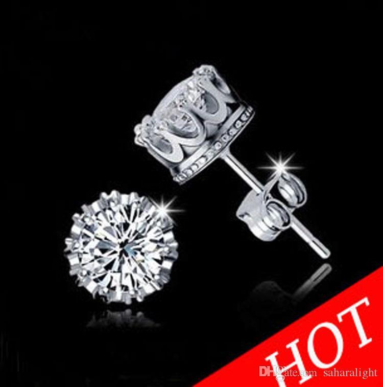 Gros Fashion Crown 18k plaqué or boucles d'oreilles femmes Brincos De Prata hommes Cubique Zircone Cristal Jewerly Double Stud Earing