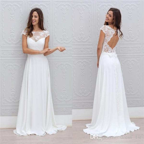Simple Style Beach Wedding Dresses Cheap 2018 Sheer Lace Top Open Back Capped Sleeves A Line Sweep Train White Chiffon Bridal Gowns En110112