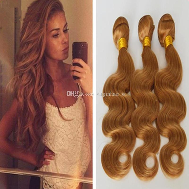 Awesome 3 Bundles Light Brown Wavy Hair 8A Unprocessed Peruvian Hair Body Wave Pure  Color #27 Honey Blonde Human Hair Weave Weft Extensions Honey Blonde Hair  Blonde ... Ideas