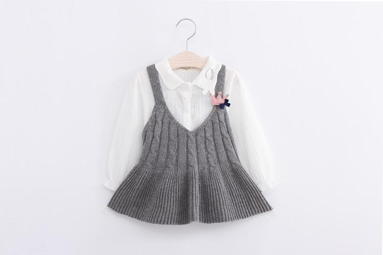 Clear Stock Girls Knitting Suspender Dresses 2017 Autumn Kids Boutique Clothing 2-7 Year Little Girls Sweaters Tops