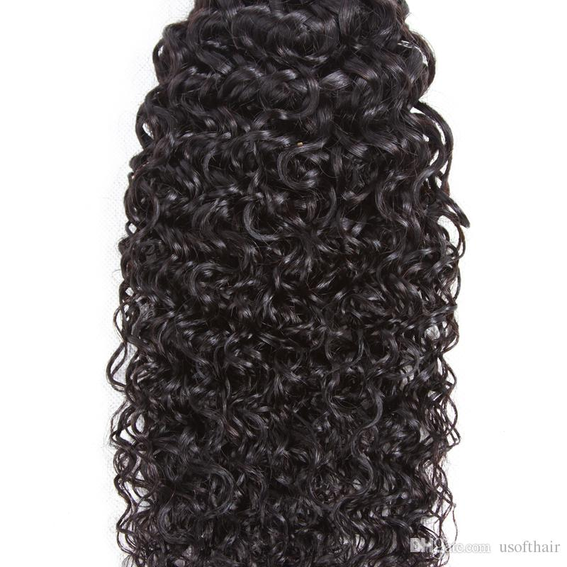 8A USOF 100%Brazilian Unprocessed Virgin Kinky Curly Human Hair virgin hair Weave 3 Bundles Curly Hair Extensions Mixed Length 8 10 12inches