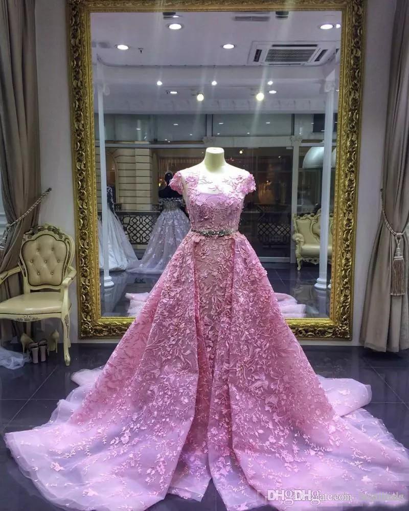 Lujo 2017 Pink Sirena Vestidos de fiesta con trenes desmontable encaje apliquen vestido de noche formal manga corta joya escote sello vestido de fiesta