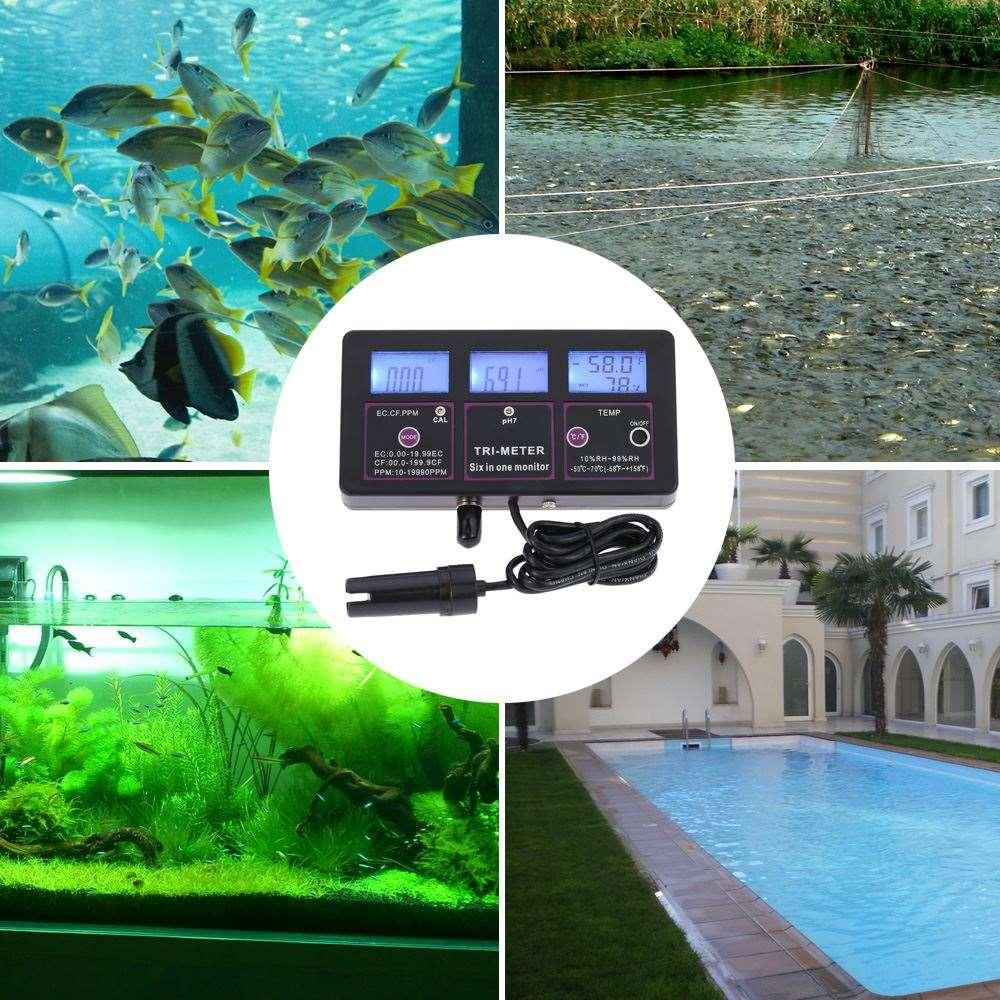 Freeshipping 6 in 1 Water Quality Tester Monitor ph meter Multi-parameter aquarium Water Meter for test PH / Temperature / EC / CF /RH /TDS