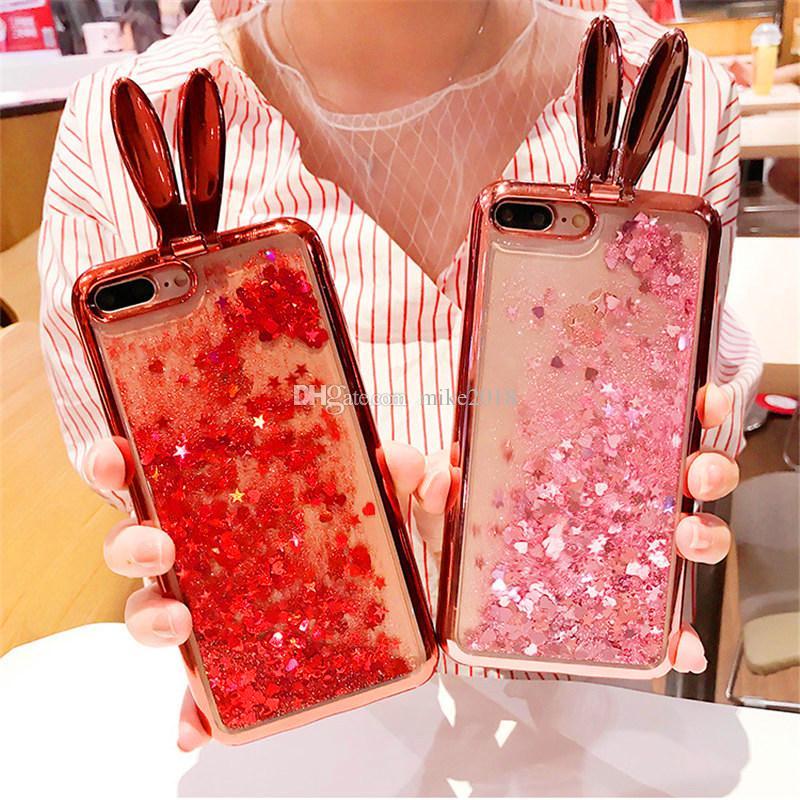 Shine Bling Glitter Liquid Case iPhone 7 6S 6 7 Plus Placca TPU TPU Anello Animale Coniglio Casi Telefonici Capa Fundas 5 pz / lotto