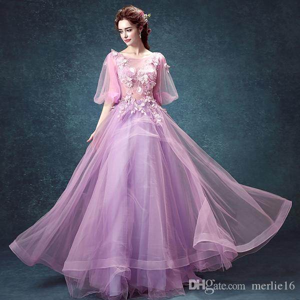 A-line beautiful Sexy Luxcy Modern Tulle Floor-length Scoop Zipper Hand Made Flowers Applique Wedding Dresses Events 160002-1