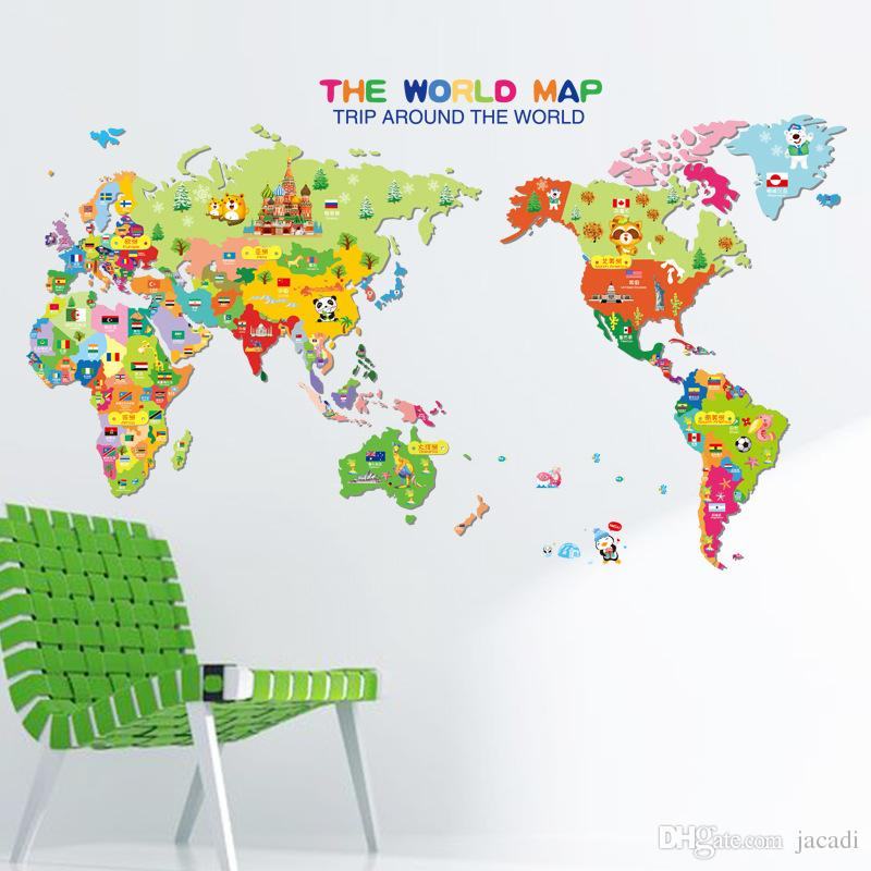 Dhl Factory Direct World Map Wall Stickers Kid Room