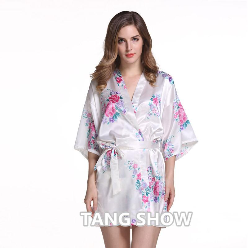 Wholesale White Plus Size Chinese Women S Satin Nightgown Short Robe Gown  New Style Kimono Bathrobe Sexy Floral Night Dress Sleepwear UK 2019 From  Geraldi 488f703564