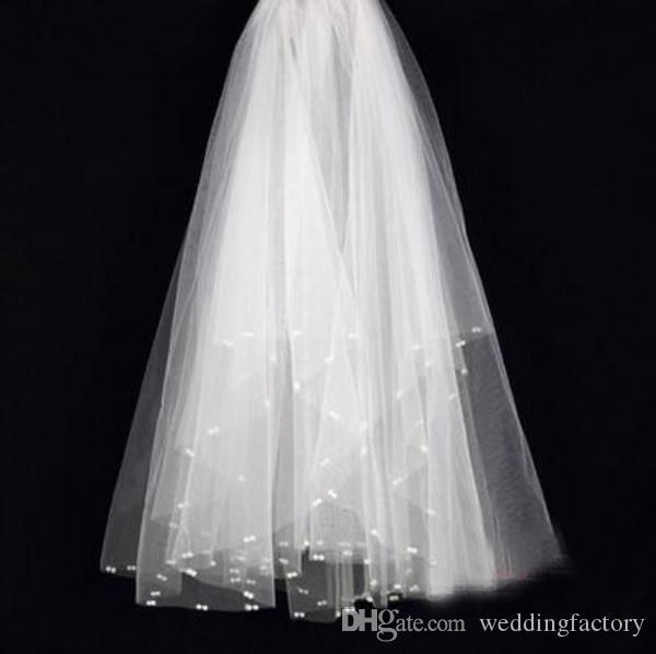 Impresionante más nuevo velo de novia corto tul suave boda novias velos con perlas exquisitas barato de alta calidad de marfil nupcial accesorios